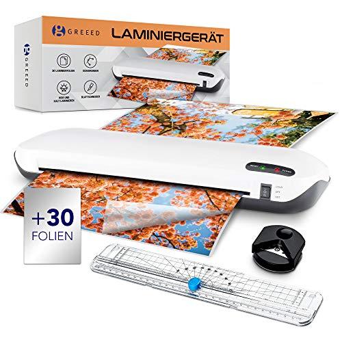 GREEED® Laminiergerät Set – Laminierer bis A4 – Inklusive Steckdosenanschluss & Eckenrunder – Praktischer Folienschneider - [30] Laminierfolien für innovativen Laminator
