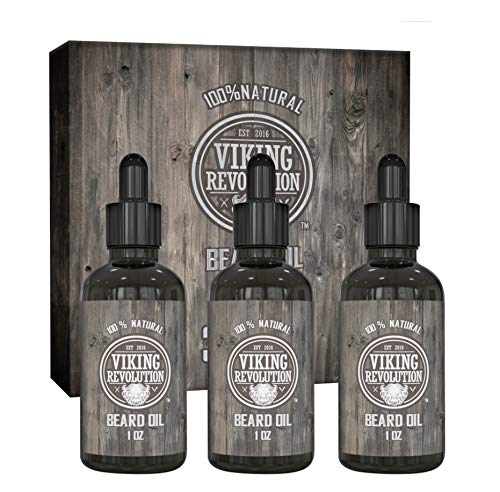 Viking Revolution Beard Oil Conditioner - All Natural Unscented Organic Argan & Jojoba Oils – Softens, Smooths & Strengthens Beard Growth – Grooming Beard and Mustache Maintenance Treatment, 3 Pack