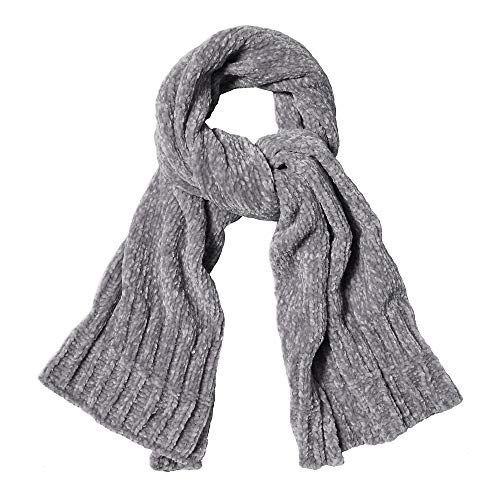 SOJOS Lightweight Ultra Soft Chenille Ribbed Thick Scarf Knit Shawl for Women for Fall Winter Shawl Wrap SC326 with Light Grey