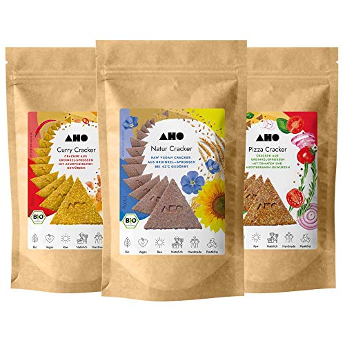 AHO Cracker Probierpaket | Rohkostcracker aus Bio Urdinkel-Sprossen | Rohkostbrot aus gekeimtem Urgetreide aus deutschem Bio-Anbau | 100% Bio, Vegan, Raw | Plastikfrei verpackt