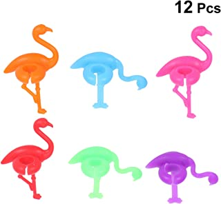 BESTONZON 12PCS Silicone Wine Glass Marker Creative Flamingo Drink Charms Glass Label Mark Glass Identification Perfect for Parties
