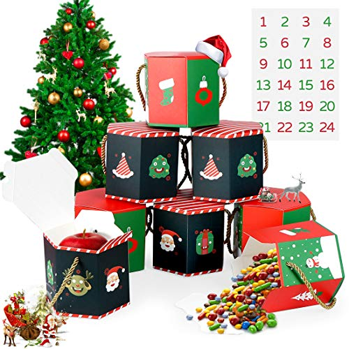 O-Kinee Geschenkboxen Weihnachten, Geschenkbox Weihnachten, 24 Stück Geschenkkarton Weihnachten, Schachtel Weihnachten, Geschenkschachtel für Party Geschenkverpackung Weihnachten Dekoration