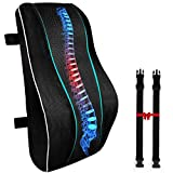 Lumbar Support Pillow for Office Chair, Memory Foam Back Cushion Orthopedic Backrest, Car Seat Lumbar Pillows for Back Pain Relief, Ideal Back Support for Computer/Desk Chair, Car, Wheelchair, Black