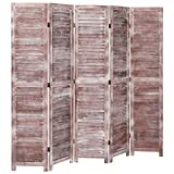 Tidyard Biombo de 5 Paneles Separador de Ambientes Plegable, Divisor de Habitaciones, Madera marrón 175x165 cm