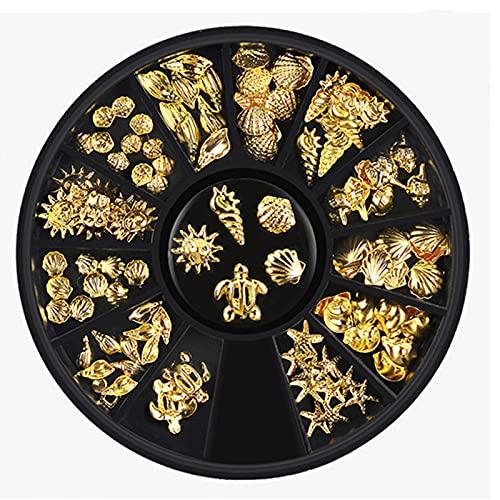 MOVKZACV 12 rejillas Ocean Series Rivet Alloy Decoración profesional de uñas, arte mixto clavos (plata, oro)