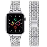 wlooo Diamond Watch Cinturino per Apple Watch 44mm 42mm, Bling Cinturino Uomo Donna Cristallo Strass Gioielli Cinturini Ricambio Metallo Inossidabile per iWatch Series 6 SE 5 4 3 2 1 (44/42, Argento)