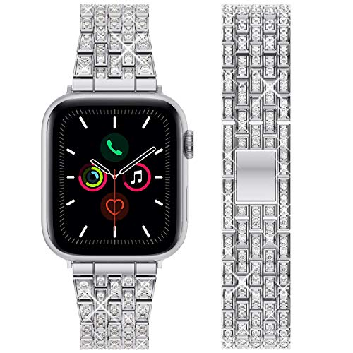 wlooo Diamante Reloj Correa para Apple Watch 44mm 42mm, Bling Watchband Pulsera Hombres Mujeres Cristal Rhinestone Correa Reemplazo Metal Inoxidable para iWatch Serie 6 SE 5 4 3 2 1 (44/42, Pl