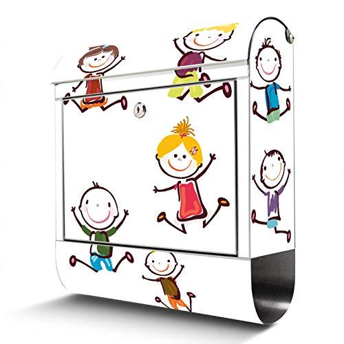 BANJADO Edelstahl Briefkasten mit Zeitungsfach | Design Motivbriefkasten | Briefkasten 38x43x12cm groß | Postkasten mit Montagematerial | 2 Schlüssel Motiv Happy Kids