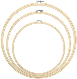 Caydo 3 Size Embroidery Hoops Big Size 8 inch, 10 inch, 12 inch Wooden Round Adjustable Bamboo Circle Cross Stitch Hoop Ring for Art Craft Handy Sewing