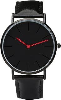 Black Minimalist Watches, Black Leather Thin Case Watches, Japanese Quartz Movement Unisex Watch
