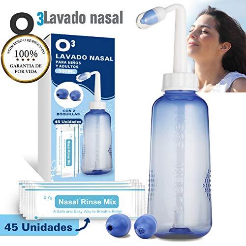 O³ Lavado Nasal 300 ml Con 2 Boquillas Para Bebes Y Adultos...