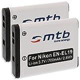 2X Batería EN-EL19 para Nikon S01, S100, S2500, S2550, S2600, S2700, S3100, S3300. (Ver descripción)