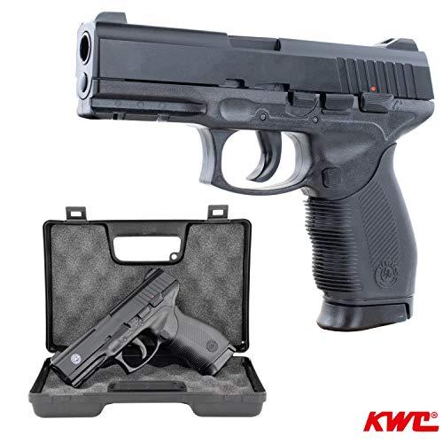 SWE Softair Pistole Taurus PT24/7 Replika mit Schlittenfang BAX-System Kal. 6mm BB <0,5 Joule im GRATIS hochwertigen Transportkoffer