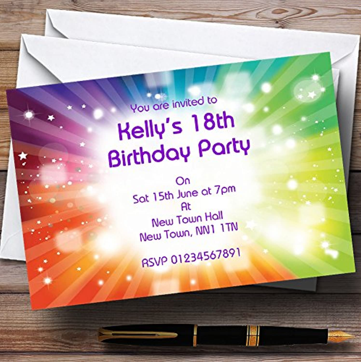 Rainbow Colours And Stars Personalised Party Invitations   Invites & Envelopes