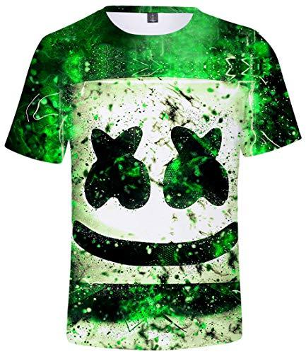 FLYCHEN Camiseta para Niños 3D Impresión Gráfica DJ Música Electrónica Cool Hip Hop Boy's Fantastic Shirt - Verde - XXS