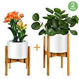 Mid-Century Plant Stand by ZERLA, Bamboo Wood Flower Pot Holder Display, Up to 12 Inch Planter - Planter Not Included (2 Pack)