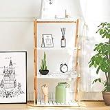 Nnewvante Shelving Unit Foldable Tiered Shelves Stand Bamboo Wood Open Storage Shelf Rack Bookshelf Stand White-4 Tier