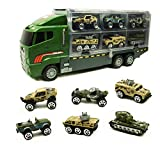 Smart Novelty Military Trucks - Army Toys for Boys and Kids Birthday 7 in 1 Die-cast Military Vehicles in Transport Carrier Truck - Emergency Rescue Mini Army Vehicles, Cars, Trucks Toy Set