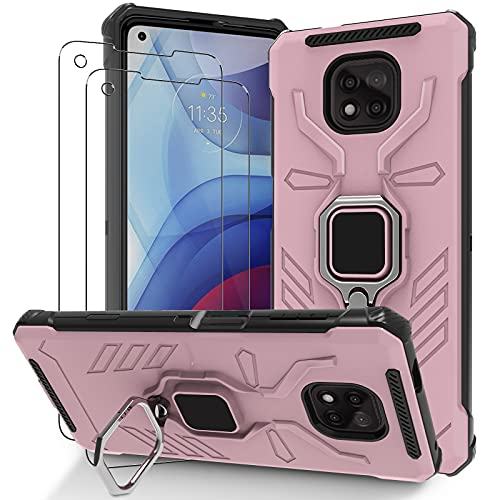 Case for Moto g Power 2021, XT2117DL Case, Motorola g Power Phone Case with [2 Packs] Tempered Glass Screen Protector, Slim Metal Ring Holder Kicstand and Shockproof Protective Cover (Rose Gold)