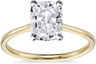 3.00 CT Cushion Brilliant Cut Solitaire Engagement Ring CZ Set in Solid 14K Yellow Gold 4 Prong/ 9mm