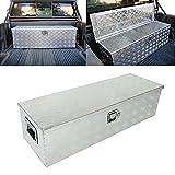 BETTERCLOUD 39'X13'X10' Heavy Duty Pick-Up Truck Bed 5 Bar Tread Tool Box Trailer Storage Tool Box Underbody Trailer Flat Bed w/Lock & Keys Silver Aluminum