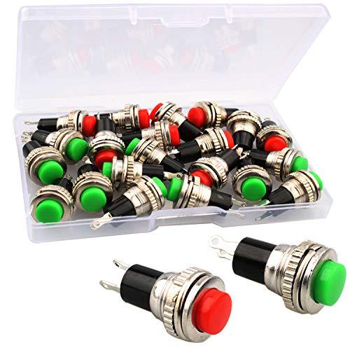 RUNCCI-YUN 20Pcs Pulsador 10mm, Pulsador Electrico,Pulsador Interruptor,Pulsador Redondo,Interruptor Pulsador,2 Colores,Rojo/Verde