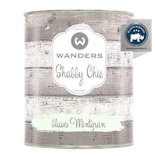Wanders24® Kreidefarbe (750 ml, blasses Mintgrün) Holzfarbe für Shabby Chic Look - Möbelfarbe einfach zu verarbeiten - Möbellack auf Wasserbasis - Made in Germany