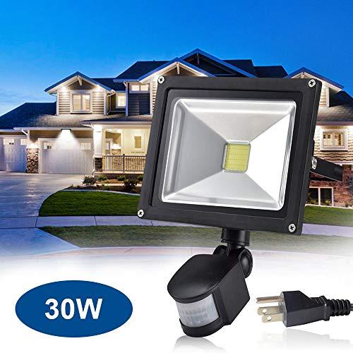 30W Led Motion Sensor Flood Lights Outdoor, PIR Induction Lamp, Intelligent Light, 6000K, Cool White, 240W Bulb Equivalent, 2400lm, Super Bright Waterproof Security Floodlight