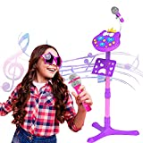 Kitty Star Echo Microphone Toys For Kids , Kids Karaokee Microphone with Stand, Children Singing Machine Dj Toy, Girls Toys Music Player with Voice Changer & Bluetooth, Gifts for Girls 3+ Years Old
