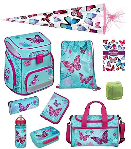 Butterfly Schulranzen-Set 10tlg. Scooli Easy FIT Ranzen 1. Klasse mit Sporttasche Schmetterling und Blumen türkis BUTE8255 Mädchen Schultaschen Komplett-Set