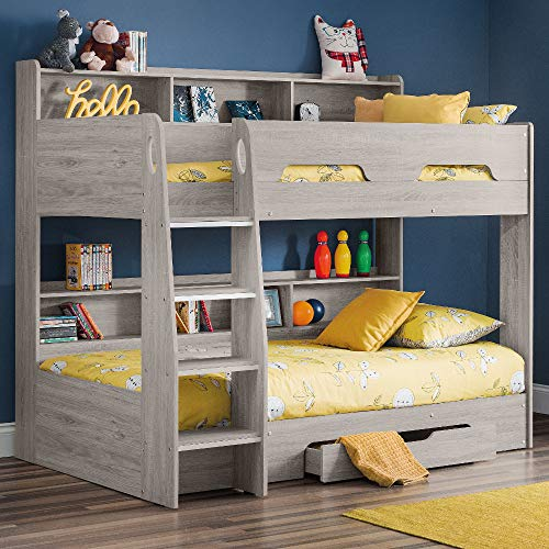 Happy Beds Wooden Bunk Bed with Underbed Storage Drawer, Orion Grey Oak and White Wood Modern Twin Sleeper - 3ft Single (90 x 190 cm) Frame Only