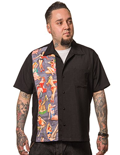Steady Clothing Herren Vintage Bowling Hemd - Pin-Up Print Panel Bowling Shirt M