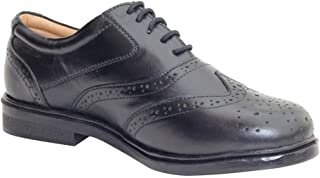 YZBuyer Original Pure Leather Brogues Black Formal Shoes for Men