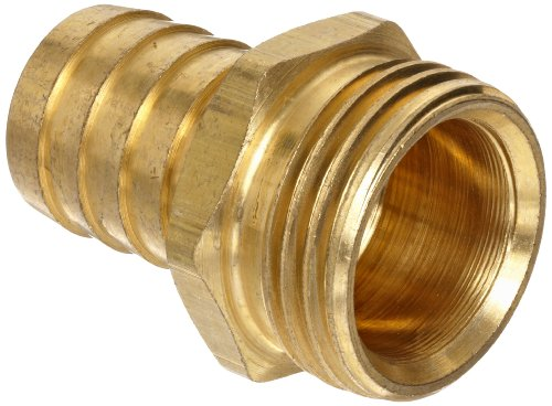 """Anderson Metals Brass Garden Hose Fitting, Connector, 1/2"""" Barb x 3/4"""" Male Hose"""