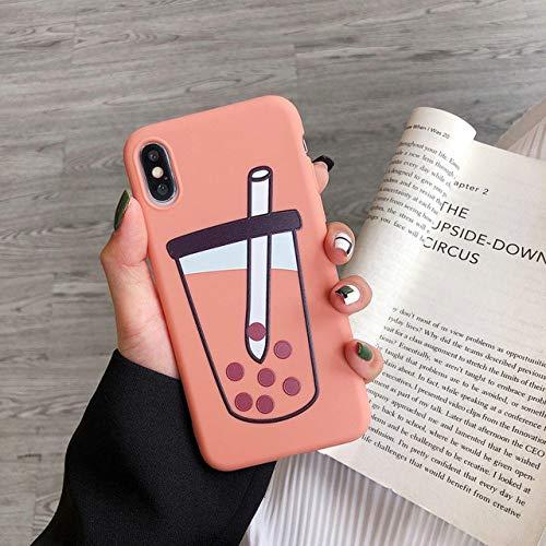 KNGYUTF Telefoonhoes voor iPhone XR XS Max 6 6S 7 8 Plus X schattige kleur snoep thee dranken zacht TPU achterkant beschermhoes geschenk Pour iPhone 7 ou 8 Oranje