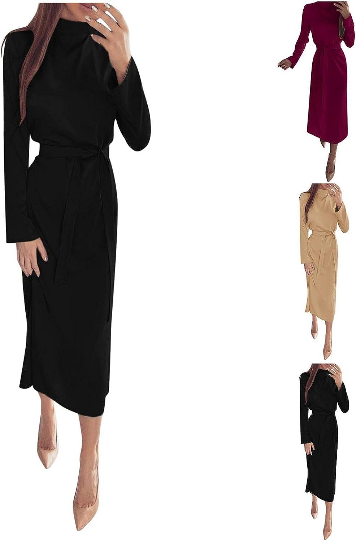 Women's Casual Dresses Long Sleeve Wrap Round Neck Maxi Dress Vintage Solid Tie Waist Long Dress Prom Dresses