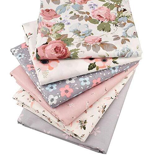 6 piezas / lote de tela de sarga de algodón de sarga floral, para manualidades, costura, acolchado, material para bebé y niño