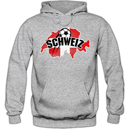 Shirt Happenz Schweiz WM 2018#1 Hoodie | Fußball | Herren | NATI | Trikot | Nationalmannschaft, Farbe:Graumeliert (Greymelange F421);Größe:S