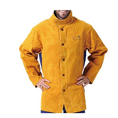 Chaqueta de Cuero para Soldadura, Resistente a la abrasión/Calor/abrasión Manga Larga de frés y Zurriago (XL)