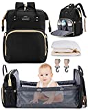 Baby Diaper Bag with Travel Bassinet, LOIRAL Travel Nappy Bag Organizer for Mom Dad with Changing Pad & Stroller Straps, Large Capacity Diaper Back Pack, New Mom Gifts for Baby Boys Girls