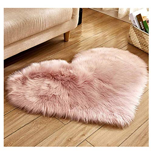Soft Faux Fur Area Rug Chair Cover Seat Pad Fuzzy Area Rug for Bedroom Floor Sofa Living Room 30X40cm/11.81''x15.74'' (Pink)