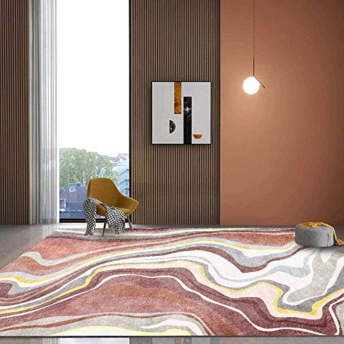 Teppiche Balkon Teppich wasserfest Rosa gelbe graue abstrakte Kurve Flussmuster Wohnzimmer Teppich Wohnzimmer deko modern Teppich küche teppichvorleger 200*250cm