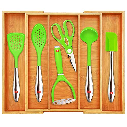 Bamboo Kitchen Drawer Organizer and Utensil Holder - Expandable Cutlery Tray for Kitchen Utensils Flatware and Silverware by Royal Craft Wood