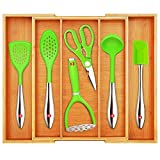 Bamboo Kitchen Drawer Organizer - Expandable Silverware Organizer/Utensil Holder and Cutlery Tray with Grooved Drawer Dividers for Flatware and Kitchen Utensils (5 Slots, Natural)