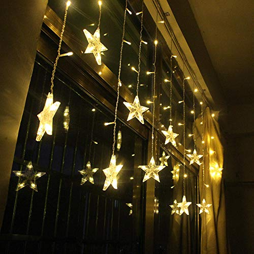 KFSG 2M Star Fairy Lights Christmas Star String Lights Ghirlanda Led Curtain Wedding/Home/Party/Garden/Birthday Lighting Lighting-White