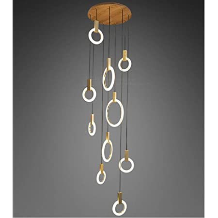 Modern Hanging Lights LED Pendant Light 10-LED Ring Hanging Lamp Stair Lamp Made of Wood and Acrylic Stair Lamp Pendant Lamp Modern Pendant Light Fitting Island Ceiling Lighting Indoor Design Lamp