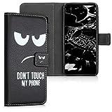 kwmobile Wiko View 3 Hülle - Kunstleder Wallet Case für Wiko View 3 mit Kartenfächern & Stand - Don't Touch My Phone Design Weiß Schwarz