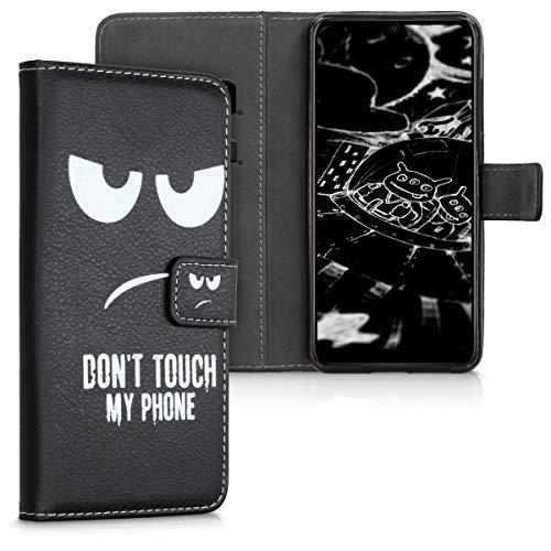 kwmobile Wallet Hülle kompatibel mit Wiko View 3 - Hülle Kunstleder mit Kartenfächern Stand Don't Touch My Phone Weiß Schwarz