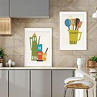 キッチンアートキャンバス絵画ミッドセンチュリーモダンポスターキッチン壁の写真ダイニングルームの装飾用50x75cmx2フレームレス