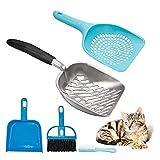 opamoo Pala de basura para gatos,4Pcs Recogedor de Arena para Gatos Pala de Plástico Recogedor cómodo para arenero Kit de Limpieza para Inodoros para Gatos para el gatito del gato del animal doméstico